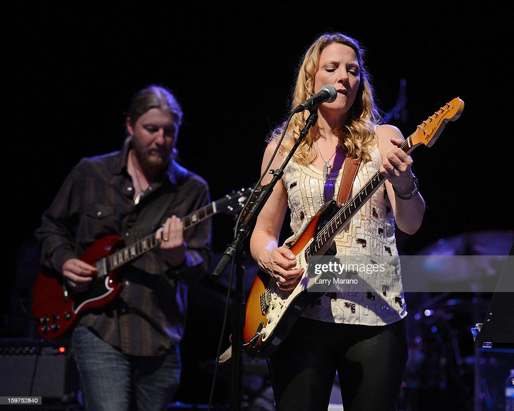 Derek Trucks and Susan Tedeschi perform during the Sunshine Blues Festival at Mizner Park Amphitheatre on January 19, 2013 in Boca Raton, Florida.