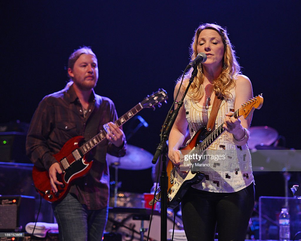 Derek Trucks and Susan Tedeschi perform during the Sunshine Blues Festival at Mizner Park Amphitheatre on January 19, 2013 in Boca Raton, Florida.
