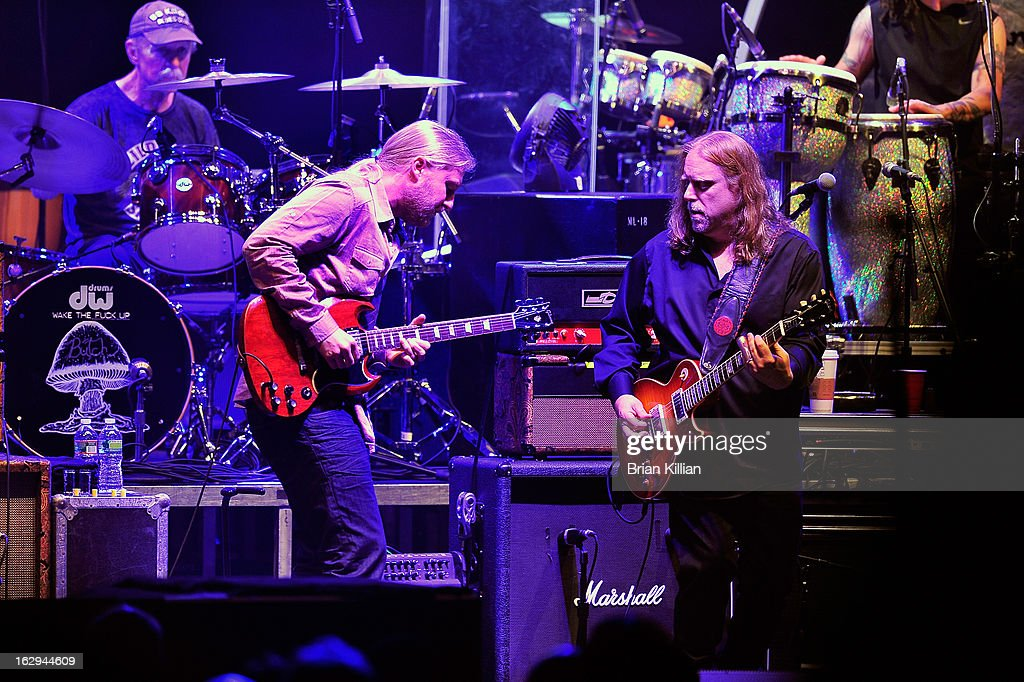 Derek Trucks and Warren Haynes of The Allman Brothers Band perform at Beacon Theatre on March 1, 2013 in New York City.