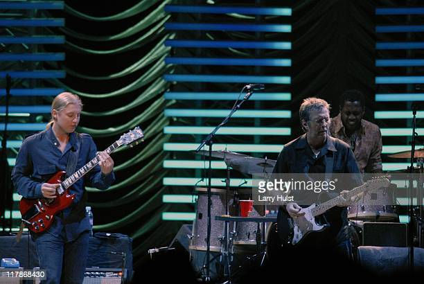 Derek Trucks Eric Clapton and Steve Jordan performing with 'Eric Clapton' at the Pepsi Center in Denver Colorado on March 7 2007