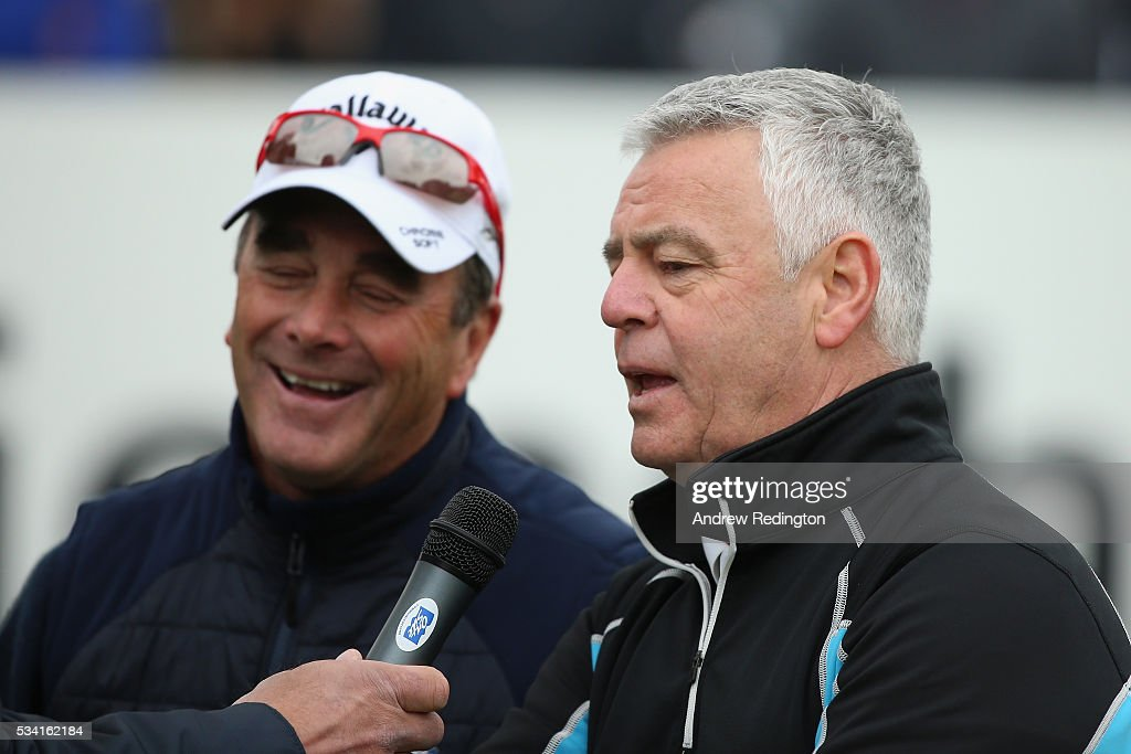 <a gi-track='captionPersonalityLinkClicked' href=/galleries/search?phrase=Derek+Warwick&family=editorial&specificpeople=662985 ng-click='$event.stopPropagation()'>Derek Warwick</a> is interviewed during the Pro-Am prior to the BMW PGA Championship at Wentworth on May 25, 2016 in Virginia Water, England.