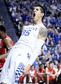 Derek Willis of the Kentucky Wildcats celebrates in the game against the Georgia Bulldogs at Rupp Arena on February 9 2016 in Lexington Kentucky