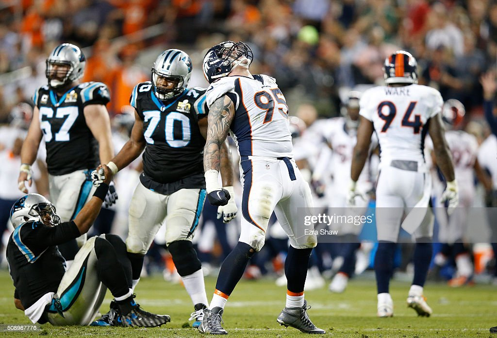 Derek Wolfe of the Denver Broncos reacts after a sack in the third quarter against Cam Newton of the Carolina Panthers during Super Bowl 50 at Levi's...