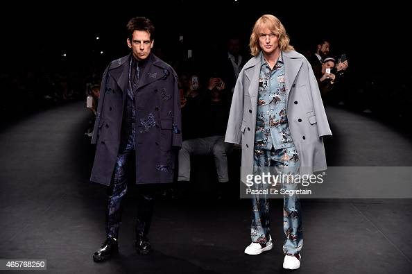 Derek Zoolander and Hansel walk the runway at the Valentino Fashion Show during Paris Fashion Week at Espace Ephemere Tuileries on March 10 2015 in...