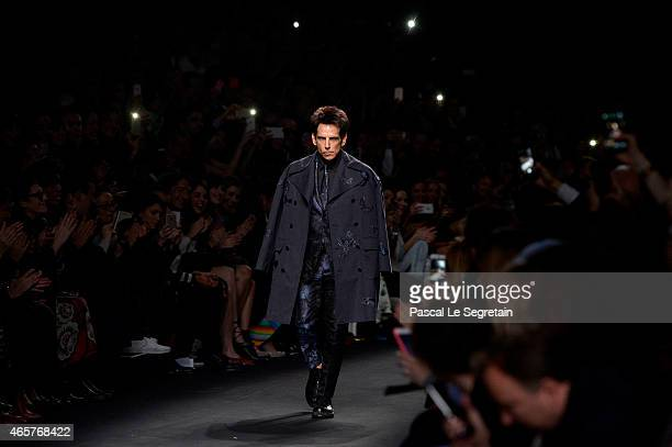 Derek Zoolander walks the runway at the Valentino Fashion Show during Paris Fashion Week at Espace Ephemere Tuileries on March 10 2015 in Paris...