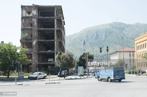 A derelict building near the now called Spansky Square on June 26 2013 in Mostar Bosnia and Herzegovina The Siege of Mostar began in 1992 during the...