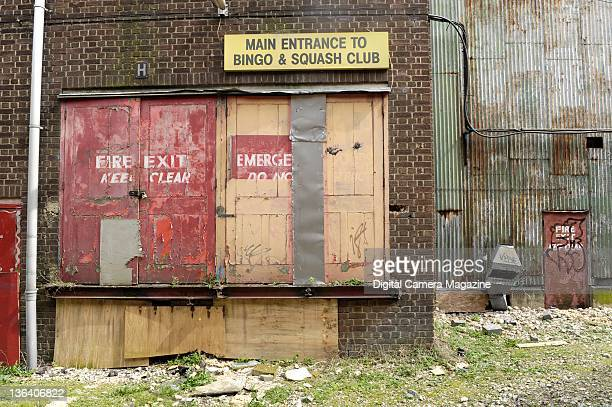 A derelict entrance to a closed down bingo and squash club sessions for Digital Camera Magazine taken on April 7 2009