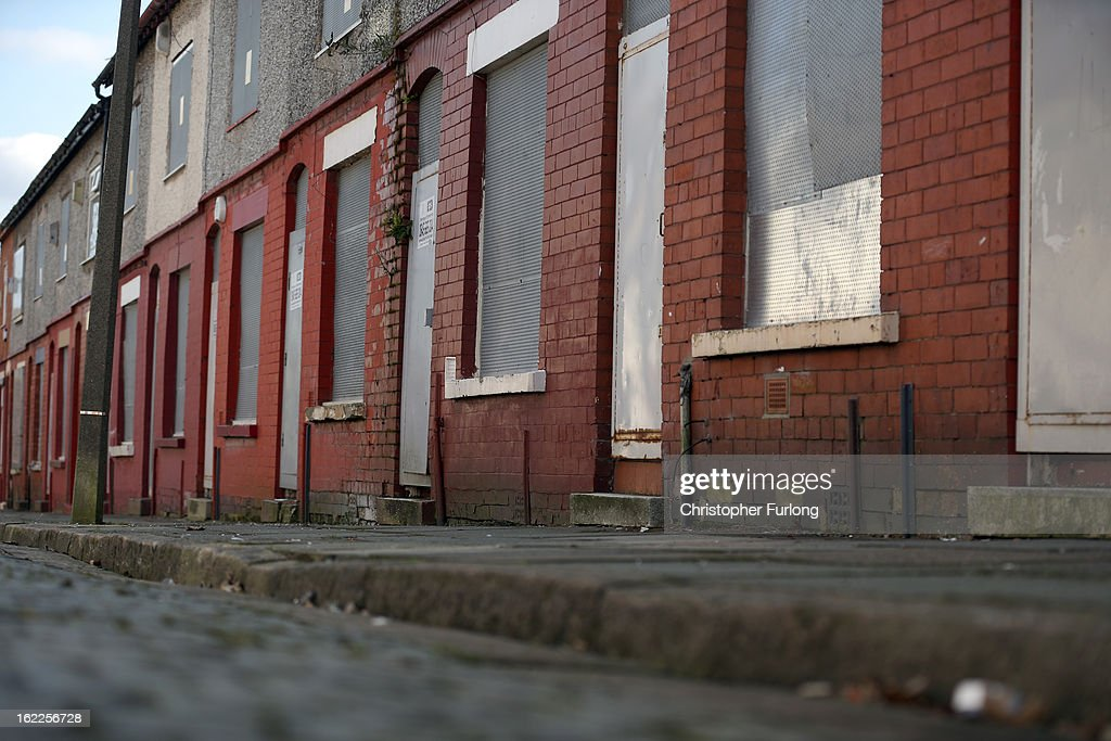 Derelict homes stand in Arnside Road, in the Kensington area of Liverpool, one of the locations in the 'Granby Triangle' on February 21, 2013 in Liverpool, England. Liverpool Council are proposing to sell off a selection of it's derelict housing stock for one GB Pound each in the failed redevelopment area known as the Granby Triangle.