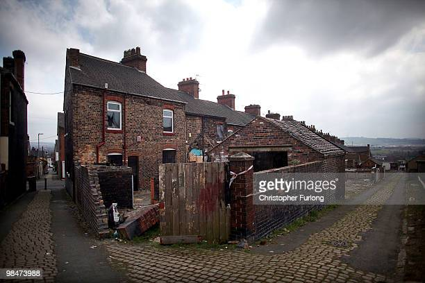 Derelict homes wait to be demolished or regenerated in Hanley on April 14 2010 in StokeonTrent StaffordshireLabour Party activists and local...