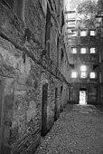Derelict jail block - Black & White