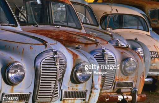 derelict old austin cars new zealand stock photo getty images. Black Bedroom Furniture Sets. Home Design Ideas
