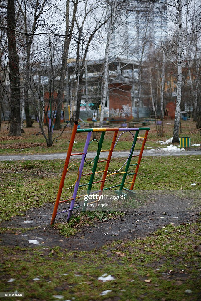 A derelict playground in the 'Engels' park on November 3, 2011 in Yekaterinburg, Russia. Yekaterinburg is one of thirteen cities proposed as a host city for the 2018 FIFA World Cup in Russia.