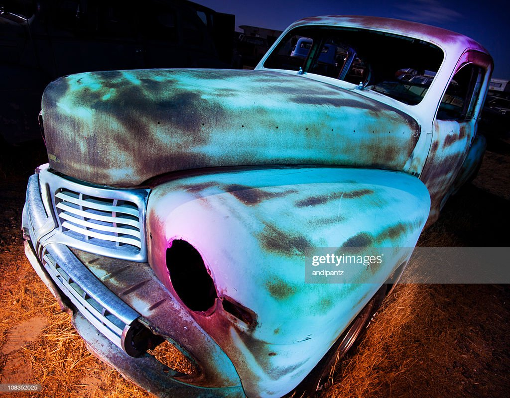 Derelict truck at night : Stock Photo