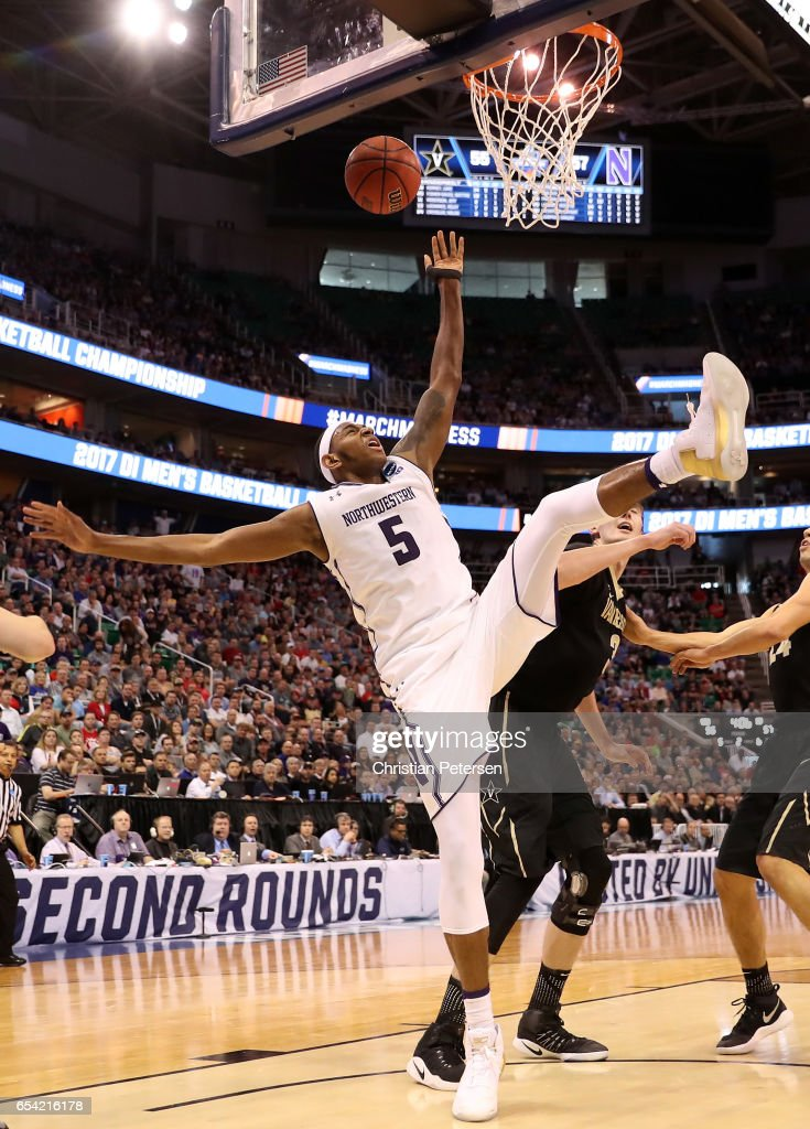 Dererk Pardon #5 of the Northwestern Wildcats drives to the basket against Luke Kornet #3 of the Vanderbilt Commodores in the second half during the first round of the 2017 NCAA Men's Basketball Tournament at Vivint Smart Home Arena on March 16, 2017 in Salt Lake City, Utah.