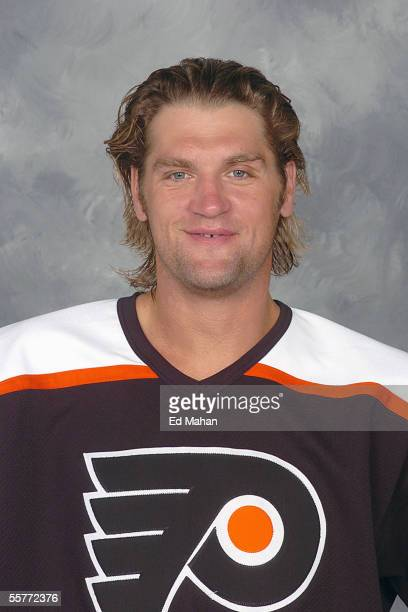 Derian Hatcher of the Philadelphia Flyers poses for a portrait at Wachovia Center on September 14 2005 in Dallas Texas