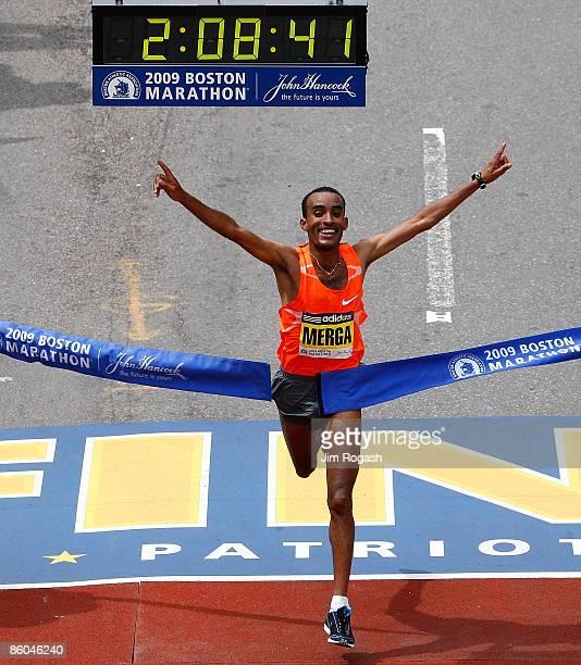 Deriba Merga of Ethiopia wins the men's division of the 113th running of the Boston Marathon in Boston Massachusetts on April 20 2008 in Boston...