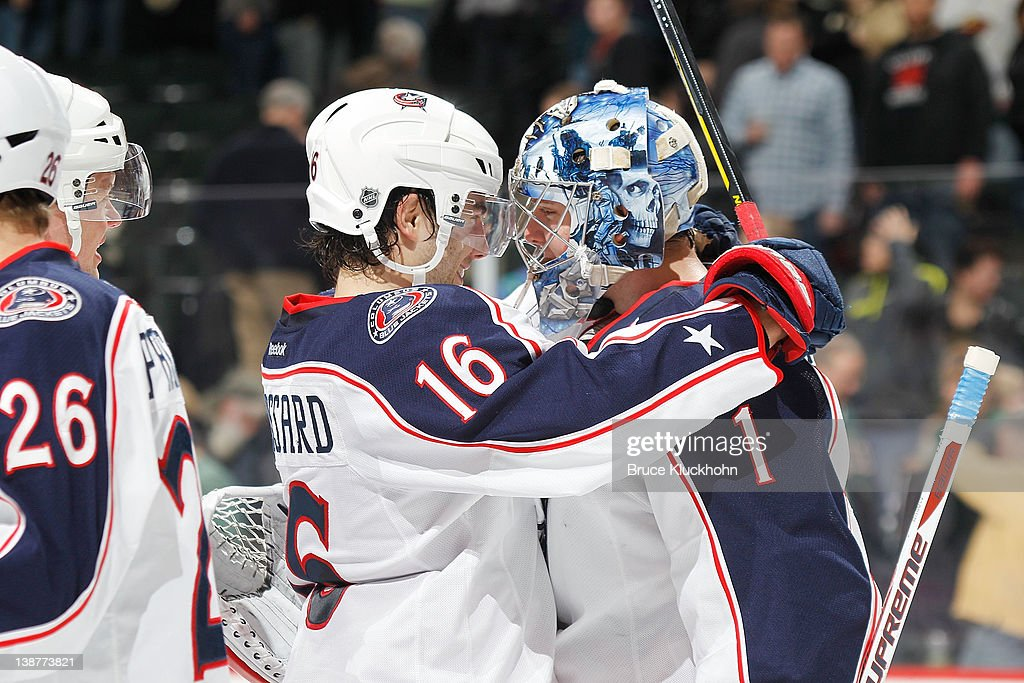 <a gi-track='captionPersonalityLinkClicked' href=/galleries/search?phrase=Derick+Brassard&family=editorial&specificpeople=540468 ng-click='$event.stopPropagation()'>Derick Brassard</a> #16 and Steve Mason #1 of the Columbus Blue Jackets celebrate after defeating the Minnesota Wild at the Xcel Energy Center on February 11, 2012 in St. Paul, Minnesota.