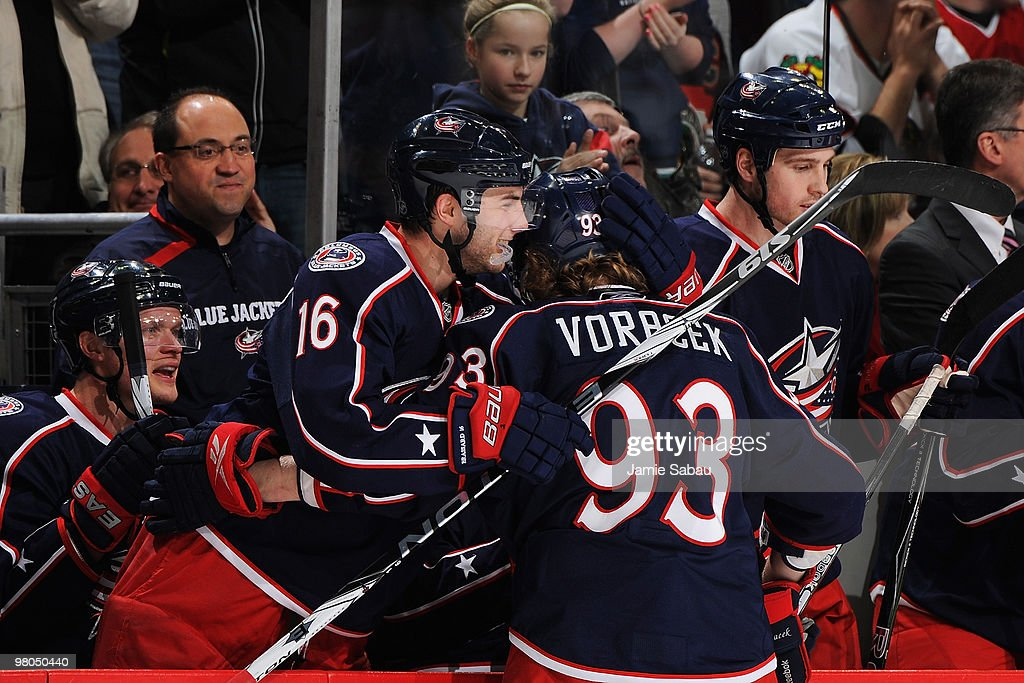<a gi-track='captionPersonalityLinkClicked' href=/galleries/search?phrase=Derick+Brassard&family=editorial&specificpeople=540468 ng-click='$event.stopPropagation()'>Derick Brassard</a> #16 congratulates <a gi-track='captionPersonalityLinkClicked' href=/galleries/search?phrase=Jakub+Voracek&family=editorial&specificpeople=4111797 ng-click='$event.stopPropagation()'>Jakub Voracek</a> #93, both of the Columbus Blue Jackets, after Voracek scored a goal on a penalty shot against the Chicago Blackhawks during the second period on March 25, 2010 at Nationwide Arena in Columbus, Ohio.