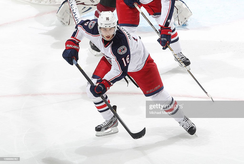 <a gi-track='captionPersonalityLinkClicked' href=/galleries/search?phrase=Derick+Brassard&family=editorial&specificpeople=540468 ng-click='$event.stopPropagation()'>Derick Brassard</a> #16 of the Columbus Blue Jackets skates against the Colorado Avalanche at the Pepsi Center on January 24, 2013 in Denver, Colorado.