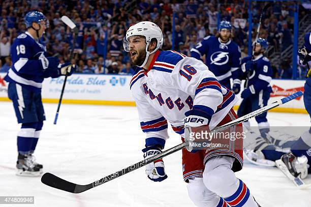 Derick Brassard of the New York Rangers celebrates after scoring a goal against Ben Bishop of the Tampa Bay Lightning during the first period in Game...