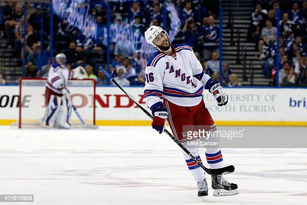 Derick Brassard of the New York Rangers celebrates after scoring an empty net goal against the Tampa Bay Lightning during the third period in Game...