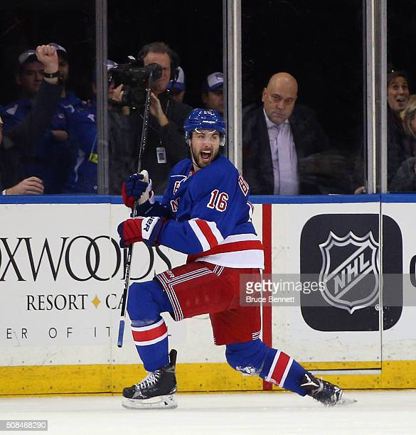 Derick Brassard of the New York Rangers celebrates his game winning goal at 546 of the third period against the Minnesota Wild at Madison Square...