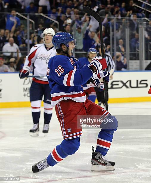 Derick Brassard of the New York Rangers celebrates his powerplay goal at 123 of the second period in Game Three of the Eastern Conference...