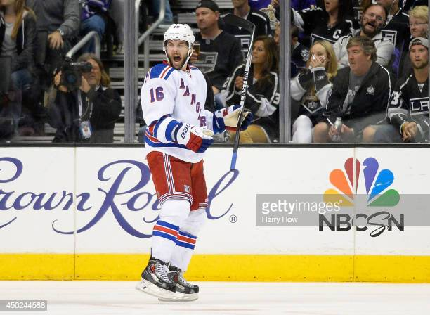 Derick Brassard of the New York Rangers celebrates his second period goal against the Los Angeles Kings during Game Two of the 2014 NHL Stanley Cup...