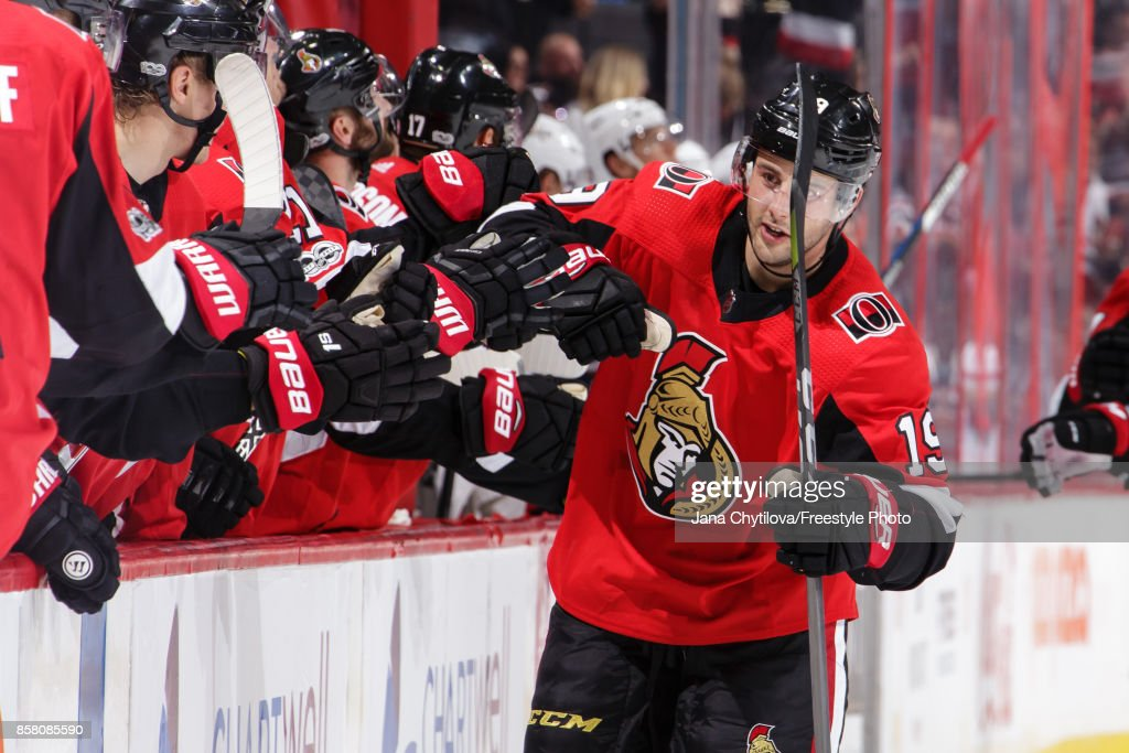 Derick Brassard #19 of the Ottawa Senators celebrates his third period goal against the Washington Capitals with teammates at the bench at Canadian Tire Centre on October 5, 2017 in Ottawa, Ontario, Canada.