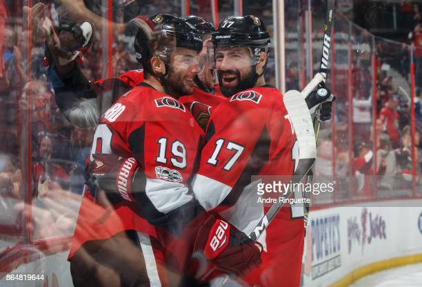 Derick Brassard of the Ottawa Senators celebrates his third period goal against the Toronto Maple Leafs with teammate Nate Thompson at Canadian Tire...