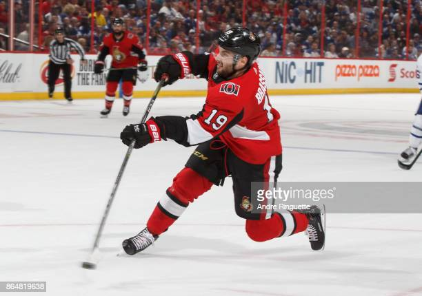 Derick Brassard of the Ottawa Senators shoots the puck against the Toronto Maple Leafs leading to his third period goal at Canadian Tire Centre on...