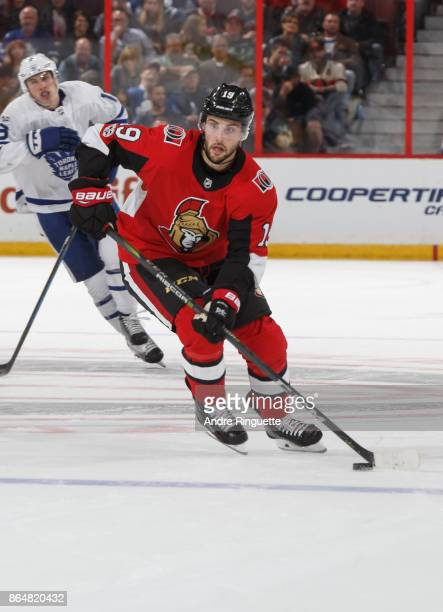 Derick Brassard of the Ottawa Senators skates up ice with the puck against the Toronto Maple Leafs at Canadian Tire Centre on October 21 2017 in...