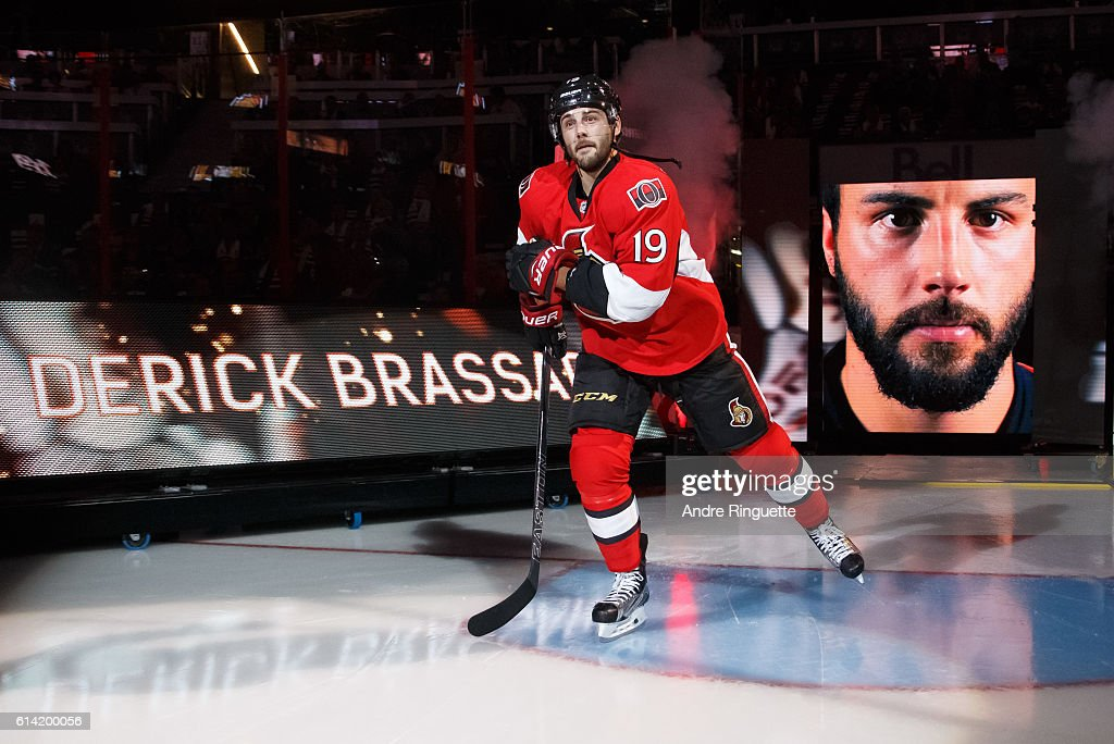 Derick Brassard #19 of the Ottawa Senators steps onto the ice during player introductions prior to a game against the Toronto Maple Leafs at Canadian Tire Centre during the season opener on October 12, 2016 in Ottawa, Ontario, Canada.