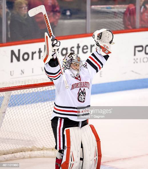 Derick Roy of the Northeastern Huskies celebrates a victory against the Yale Bulldogs after NCAA hockey at Matthews Arena on January 6 2015 in Boston...