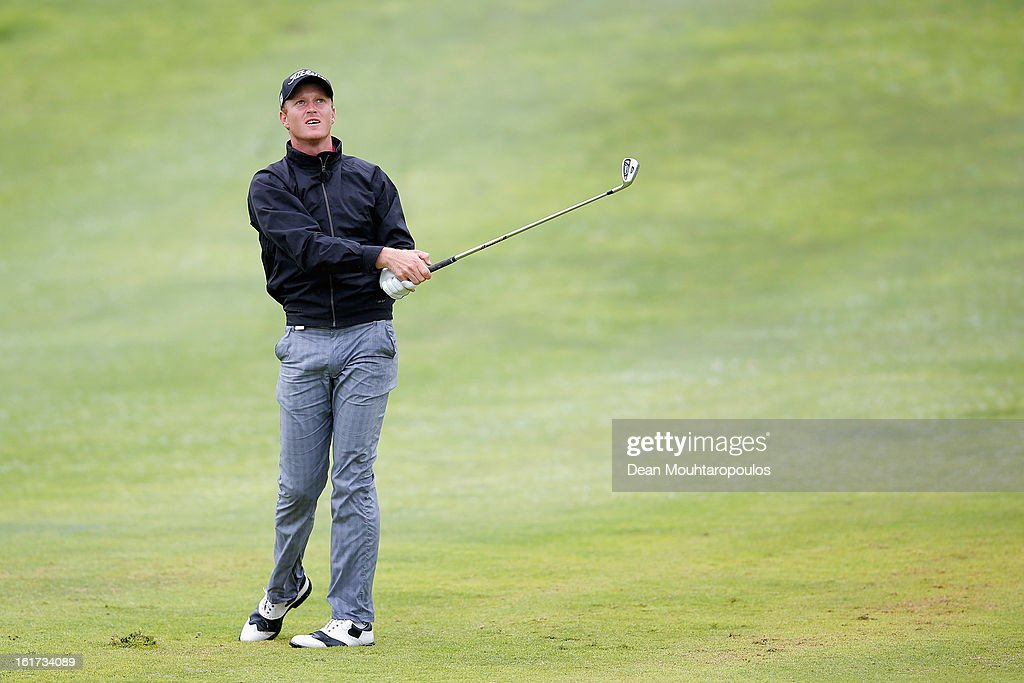 Derik Ferreira of South Africa hits his second shot on the 7th hole during Day Two of the Africa Open at East London Golf Club on February 15, 2013 in East London, South Africa.