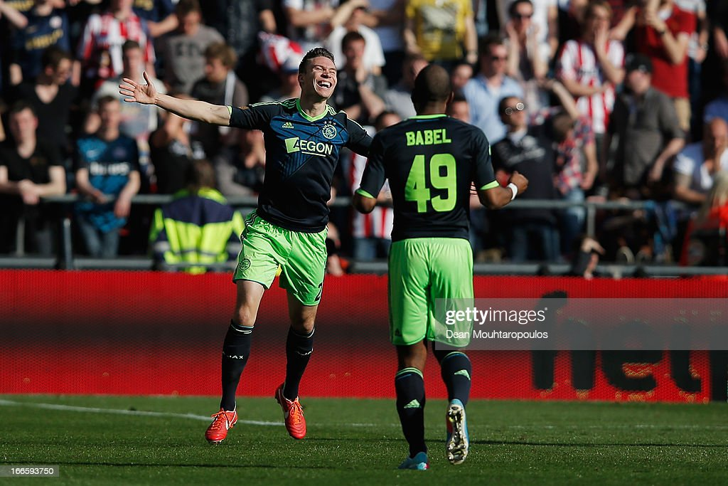 <a gi-track='captionPersonalityLinkClicked' href=/galleries/search?phrase=Derk+Boerrigter&family=editorial&specificpeople=8003354 ng-click='$event.stopPropagation()'>Derk Boerrigter</a> of Ajax celebrates scoring the third goal of the game during the Eredivisie match between PSV Eindhoven and Ajax Amsterdam at Philips Stadion on April 14, 2013 in Eindhoven, Netherlands.