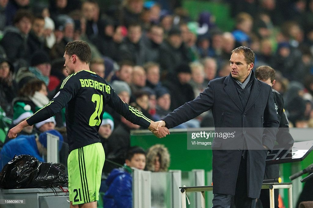 Derk Boerrigter of Ajax, coach Frank de Boer of Ajax during the Dutch Cup match between FC Groningen and Ajax Amsterdam at the Euroborg on December 20, 2012 in Groningen, The Netherlands.
