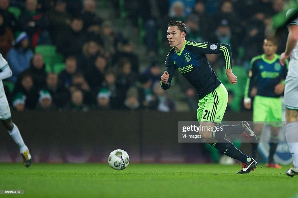 Derk Boerrigter of Ajax during the Dutch Cup match between FC Groningen and Ajax Amsterdam at the Euroborg on December 20, 2012 in Groningen, The Netherlands.