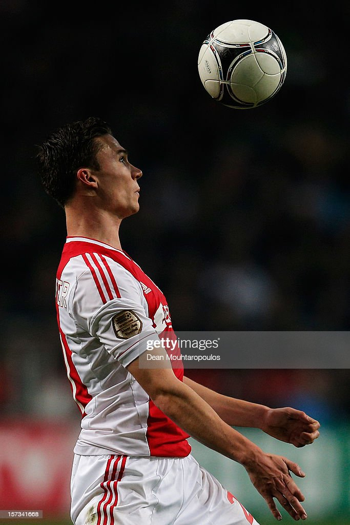 <a gi-track='captionPersonalityLinkClicked' href=/galleries/search?phrase=Derk+Boerrigter&family=editorial&specificpeople=8003354 ng-click='$event.stopPropagation()'>Derk Boerrigter</a> of Ajax in action during the Eredivisie match between Ajax Amsterdam and PSV Eindhoven at Amsterdam Arena on December 1, 2012 in Amsterdam, Netherlands.
