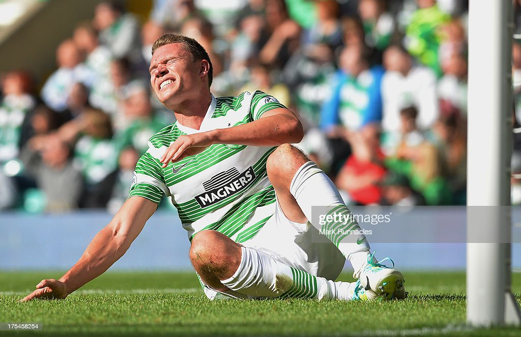 <a gi-track='captionPersonalityLinkClicked' href=/galleries/search?phrase=Derk+Boerrigter&family=editorial&specificpeople=8003354 ng-click='$event.stopPropagation()'>Derk Boerrigter</a> of Celtic picks up an injury on his debut during the Scottish Premier League game between Celtic and Ross County at Celtic Park Stadium on August 03, 2013 in Glasgow, Scotland.