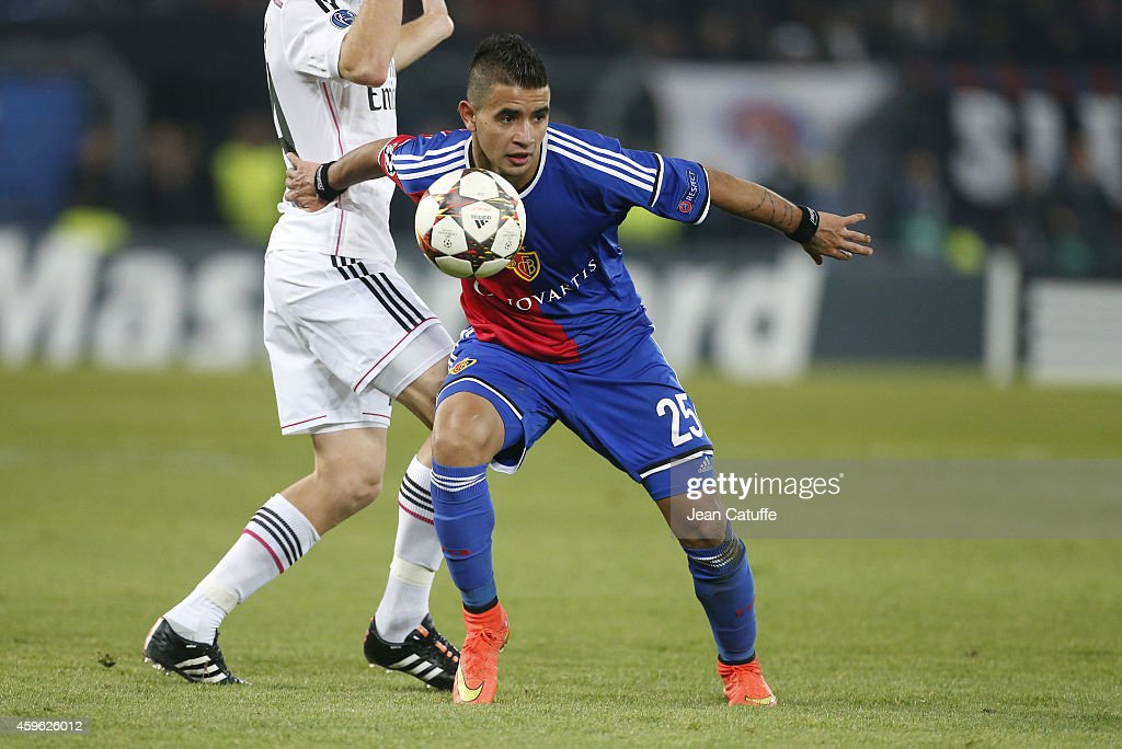 Derlis Gonzalez of FC Basel in action during the UEFA Champions League Group B match between FC Basel 1893 and Real Madrid CF at St. Jakob-Park stadium on November 26, 2014 in Basel, Basel-Stadt, Switzerland.