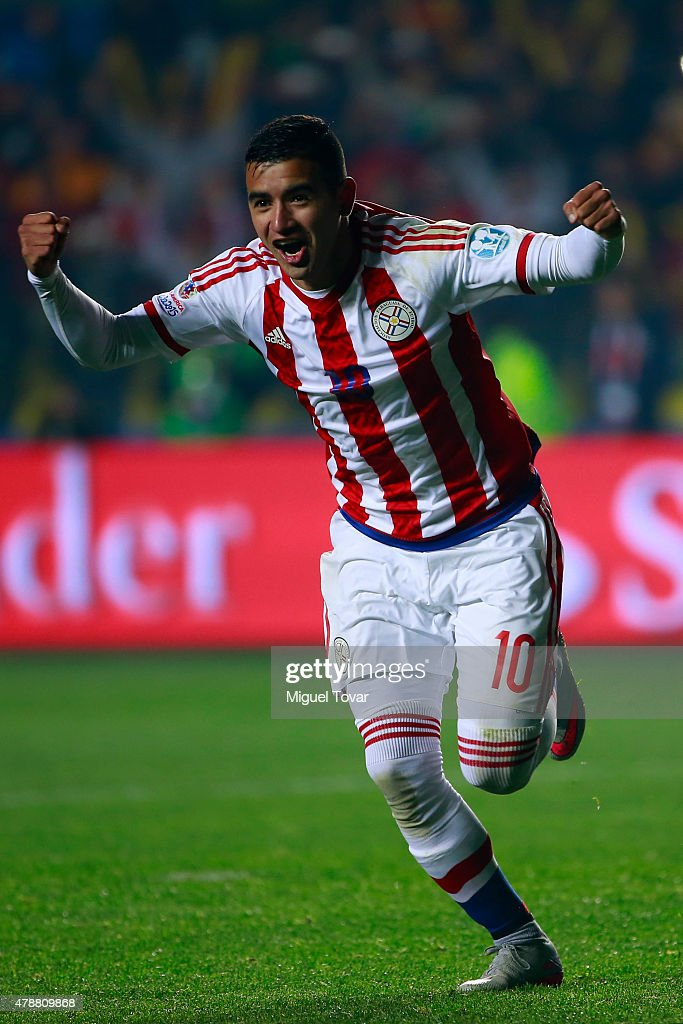 Derlis Gonzalez of Paraguay celebrates after scoring the fifth penalty kick in in the penalty shootout during the 2015 Copa America Chile quarter final match between Brazil and Paraguay at Ester Roa Rebolledo Stadium on June 27, 2015 in Concepcion, Chile.