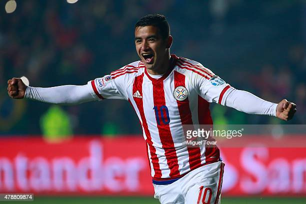 Derlis Gonzalez of Paraguay celebrates after scoring the fifth penalty kick in in the penalty shootout during the 2015 Copa America Chile quarter...
