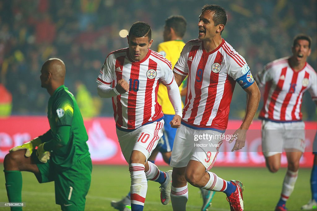 Derlis Gonzalez of Paraguay celebrates after scoring the first goal of his team through a penalty kick during the 2015 Copa America Chile quarter final match between Brazil and Paraguay at Ester Roa Rebolledo Stadium on June 27, 2015 in Concepcion, Chile.