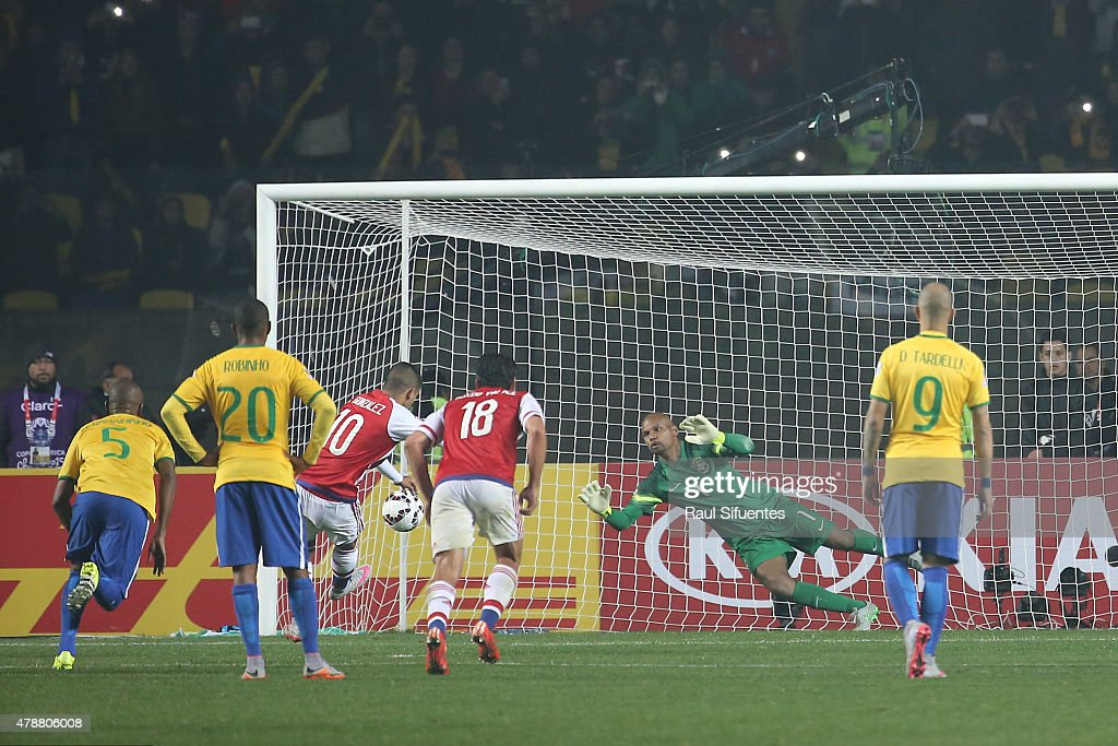 Derlis Gonzalez of Paraguay shoots to score the first goal of his team through a penalty kick during the 2015 Copa America Chile quarter final match between Brazil and Paraguay at Ester Roa Rebolledo Stadium on June 27, 2015 in Concepcion, Chile.