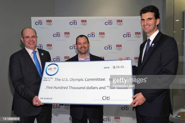 Dermot Boden Mitch Poll and Ed Skyler attend Citi's Every Step of the Way Culmination Event at a Citibank Branch in midtown on September 12 2012 in...