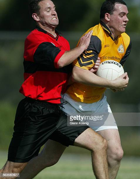 Dermot Kehily left of the Setanta team goes after Dennis Keough right of the Wild Geese during a Gaelic football game in San Diego Gaelic Football is...