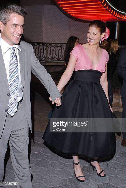 Dermot Mulroney and Debra Messing during 'The Wedding Date' Los Angeles Premiere Red Carpet at Universal Studios in Hollywood California United States