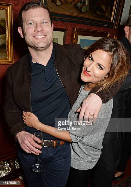 Dermot O'Leary and Caroline Flack attend the Esquire Jimmy Choo party the official launch party of London Collections Men AW15 at Marks Club on...