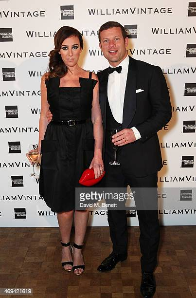 Dermot O'Leary and Dee Koppang arrive at the WilliamVintage dinner in partnership with American Express at St Pancras Renaissance Hotel on February...